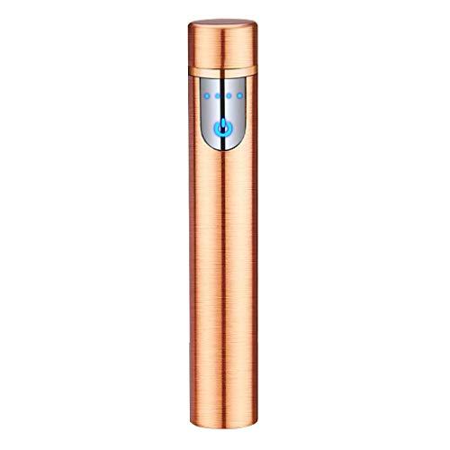 ARCLAND Encendedor eléctrico con Sensor de Huella Dactilar, Pantalla táctil, Encendedor electrónico, sin Llama, Recargable con Caja de Regalo, Oro Rosa