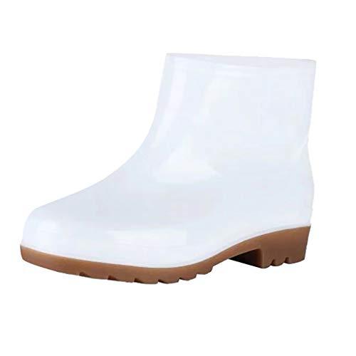 Yowablo Stiefel Winterstiefel Damen Cowboystiefel Overknee Stiefel Winterschuhe Plateauschuhe Winterboots Stiefeletten Boots Gummistiefel Schlupfstiefel Regenstiefel (39 EU,Weiß)