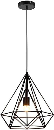 Lámpara Iluminación colgante Moderna jaula,Iluminación Suspensión industrial Loft luz Edison E27 Lámpara Colgante Rústica para Hogar Cocina Restaurante Cafetería(25CM)