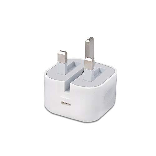 Cargador rápido USB C PD de 20 W, adaptador de corriente tipo C, 3 pines, enchufe de pared plegable del Reino Unido, compatible con teléfono