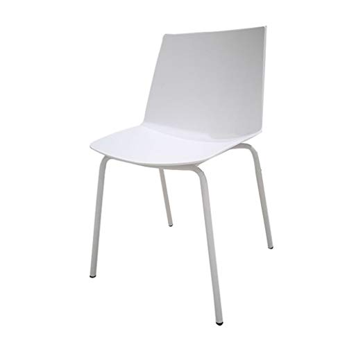 SLY Retro Ligstoelen, Buffet Balkon Onderhandelen Office Leisure Receptie Pension Nail Art Plastic Smeedijzer Rugleuning Chair (Color : White)