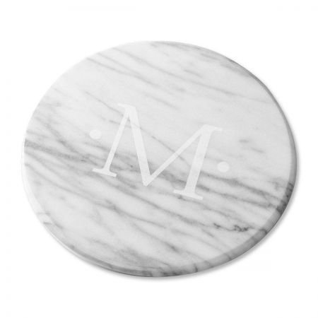 Monogrammed Marble Lazy Susan in White - 12 diameter turntable Initial etched in marble smooth rotating base