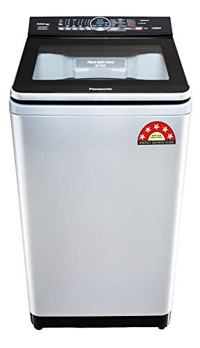 Panasonic Econavi 7.5 Kg 5 Star Built-In Heater Fully-Automatic Top Loading Washing Machine (NA-F75V9LRB, Silver, Stain Master+)