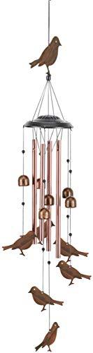 EBAT Windspiel aus galvanisiertem Messing, Metallrohr, Ornament, 4 hohle Aluminiumröhren, Windspiel mit S-Haken, für drinnen und draußen (kleine Vögel)