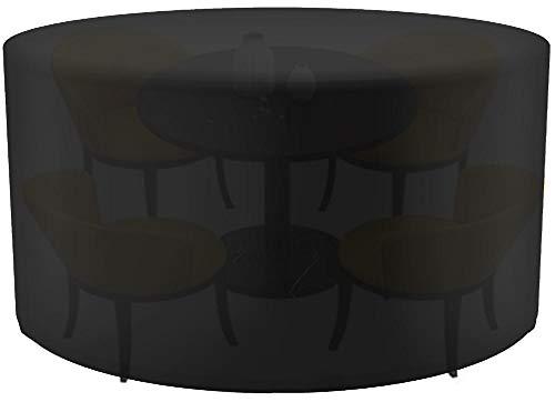 QIANC Funda para Muebles de Jardín,Cubierta de Mesa Redonda de Jardín,Funda Mesa Jardín Impermeable,Protección contra el Polvo y los Rayos UV,Ø260x90cm(102.4DIAx35.4H)-Black