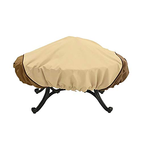 N/V Classic Accessories Oxford Cloth Water-Resistant 44 Inch Round Fire Pit CoveHeavy Duty Fabric-Anti-Crack (Rice Coffee)