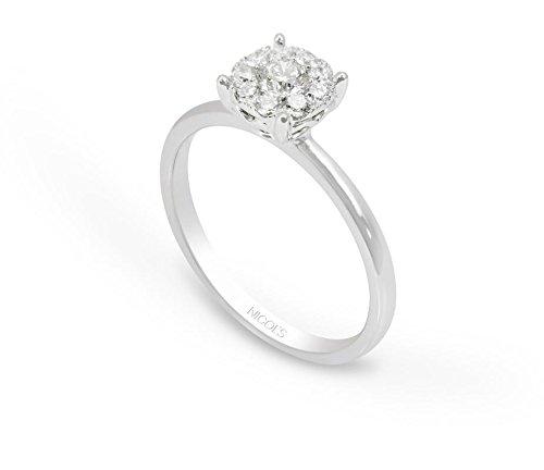 NICOLS 14710801011 - Anillo NICOL´S. Sortija Wedding Band rosetón central 7mm, enoro blanco y diamante talla brillante de peso total 0.48ct.