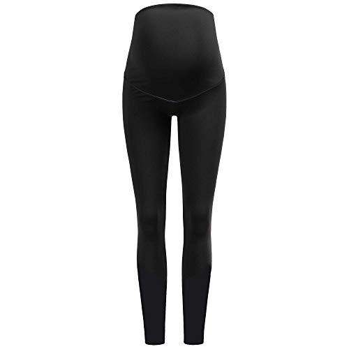 Herzmutter Umstands-Sport-Leggings – Umstands-Sport-Top-Yoga-Shirt - Yogahose für Schwangere – Umstandsleggings-Umstandstop für Sport – Umstands-Sport-Set - 8300 (XL, Hose | Schwarz (Uni))