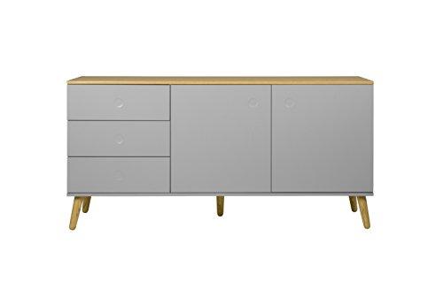 tenzo 1675–612 DOT Designer Buffet 2 portes, 3 tiroirs, gris, Structure Façades en MDF Laqué. Plateau du dessus en panneaux de particules placage chêne, 79 x 162 x 43 cm (HxLxP)