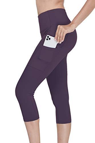 Menore Sporthose Damen 3/4 Leggings Yogahose Blickdichte Kurz Laufhos Training Tights Sport Gym Capri Leggings mit Taschen