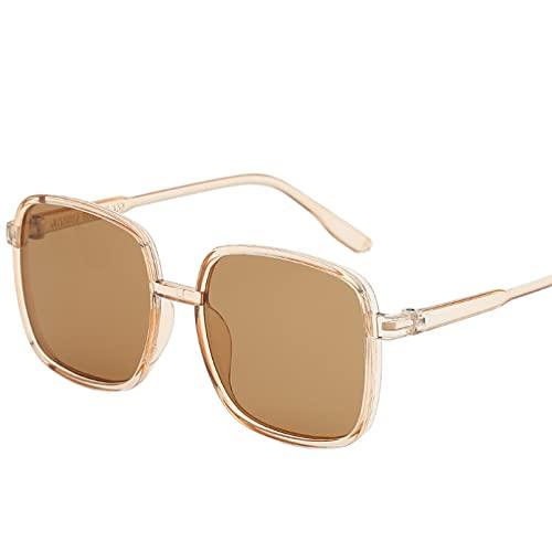SXRAI Mujer Hombre Gafas de Sol Negro Marrón Marco Gafas de Sol Uv400,C4