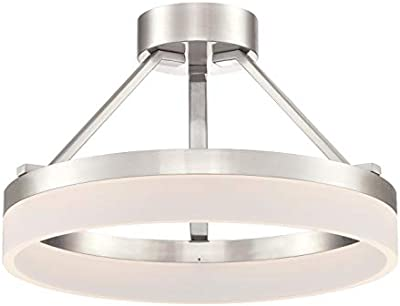 Westinghouse Lighting 65754 Luminaire Lucy semi-encastré d'intérieur à LED de 60 cm pour 40 watts, finition nickel brossé avec abat-jour acrylique dépoli