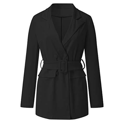 Kaiki Damen Elegant Reverskragen Tasche Arbeit Büro Mantel Kleid Lässige Tailliert Arbeit Zweireiher Blazer Anzug mit Gürtel (S, Schwarz)