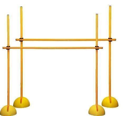 Boje Sport Set de 2 Vallas de Salto: XS120yc (6 Picas, 4 Bases para Picas rellenables, 4 Clips),Color Amarillo