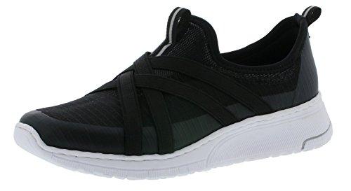 Rieker N5050 Damen Sneaker, Schnürhalbschuhe, Halbschuhe schwarz (schwarz/schwarz/schwarz / 01), EU 42