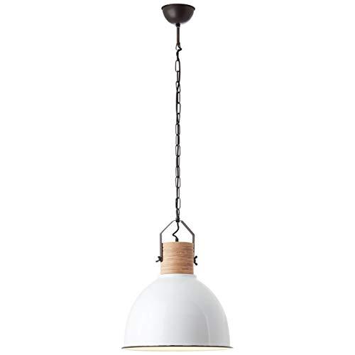 BRILLIANT lamp Barrow hanglamp 42cm hout licht/wit glanzend  1x A60, E27, 40W, geschikt voor normale lampen (niet inbegrepen)  Schaal A ++ tot E  Ketting kan worden ingekort