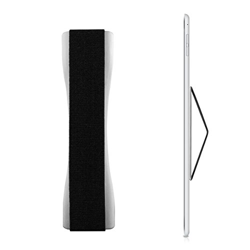 kwmobile Supporto Dita per Tablet - Sostegno Adesivo Fascetta Elastica - Impugnatura Mano Universale Compatibile con i-Pad Galaxy-Tab ebook - Argento