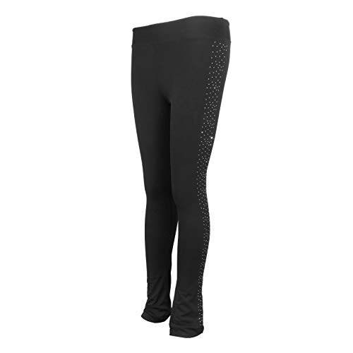 Colcolo Pantalones de Patinaje Artístico Polartec Polar Fleece Warm Trousers para Niñas Mujeres - Negro - XXL
