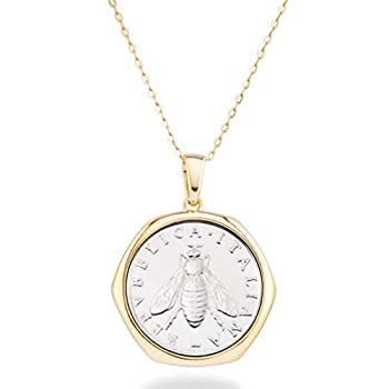 Miabella 18K Gold over Sterling Silver Italian Genuine 2-Lira Bee Coin Pendant Necklace for Women 18 Inch Chain Gold Medallion Necklace Made in Italy