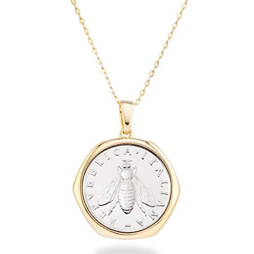 Miabella 18K Gold over Sterling Silver Italian Genuine 2-Lira Bee Coin Pendant Necklace for Women 18 Inch Chain, Gold Medallion Necklace Made in Italy