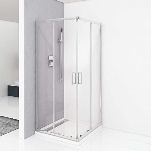 VILSTEIN Cabina de ducha 90 x 90 | Entrada angular con puertas correderas | Cristal de seguridad templado de 5 mm | Asas de acero inoxidable a ambos lados | nano-sellado