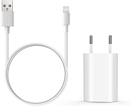 Everdigi Cargador Enchufe Adaptador USB + Cable de Carga para iPhone 5 6 S 7 8 X S Plus 1m (Un Cargador + Un Cable 1M)
