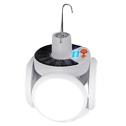 WHIO Luz LED solar plegable de fútbol colgante deformable para garaje, camping, al aire libre, oficina, hogar