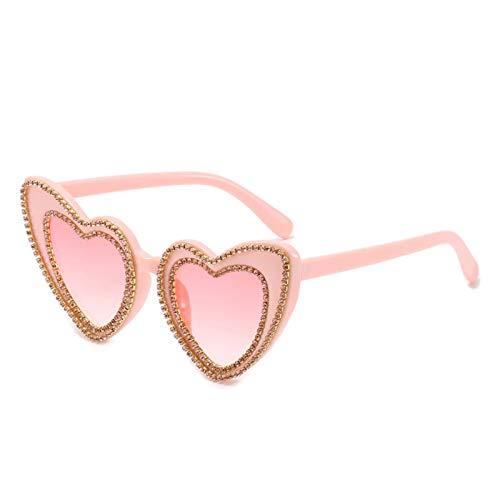 Gafas de sol personalizadas con diamantes, gafas en forma de corazón, moda de verano, sombrilla de viaje al aire libre (Color : F)