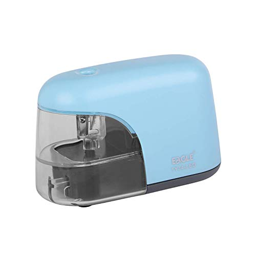 EAGLE Battery Operated Automatic Pencil Sharpener with LED Light Shining During Sharpening, Powered By 4 AA Batteries (Not Included) for 6.5-8 mm Diameter Pencils -Light Blue