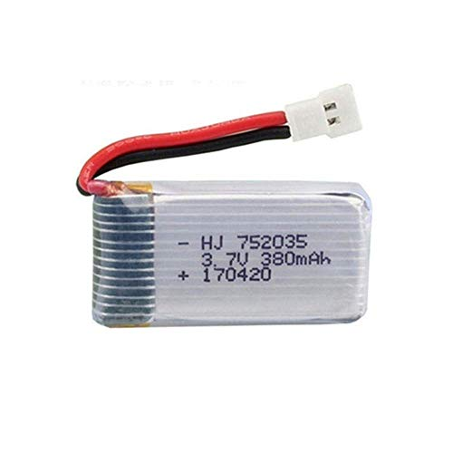 GzxLaY Set di batterie lipo 3,7 V 380 mAh per Hubsan X4 H107 H107L H107D JD385 JD388 RC Parti di Elicottero 752035 Batteria-C_5PCS ( Color : 1pcs )