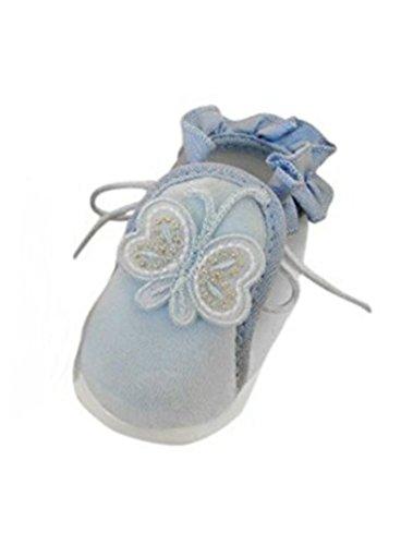 Seruna Festliche-r Baby-Schuh TP22 Gr. 19 Tauf-Schuhe hell-blau für Babies Junge-n und Mädchen zu Hochzeit-en