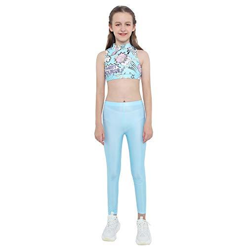 Agoky Niñas Infantil Ropa Deportiva 2Pcs Crop Top Cuello Alto + Leggings Mallas Conjuntos de Deporte Ropa de Yoga Running Entrenamiento Verano Azul 15-16 años