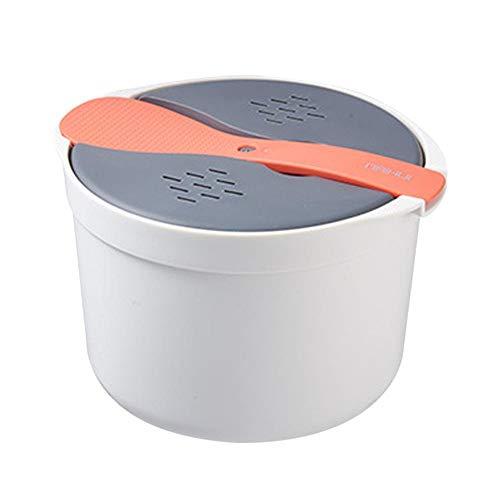 fervory Arrocera Microondas, 2l para, Sistema Olla De Vapor para Arroz También Sirve para Quinoa, Cuscús Y Patatas, Cocedor De Arroz De Microondas Sin BPA