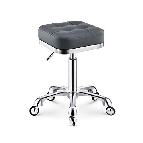 Crazy stool Zhou-WD Belleza heces, Tienda de Ropa de Oficina Sillón Negro y Gris Durable Taburetes de Belleza Silla giratoria barbería Taburetes de Bar (Color : Gray, Size : 34 * 45-85CM)