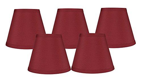 Meriville Kronleuchter-Lampenschirme zum Aufstecken, Kunstseide, 7,6 x 12,7 x 12,1 cm, Burgunderrot, 5 Stück