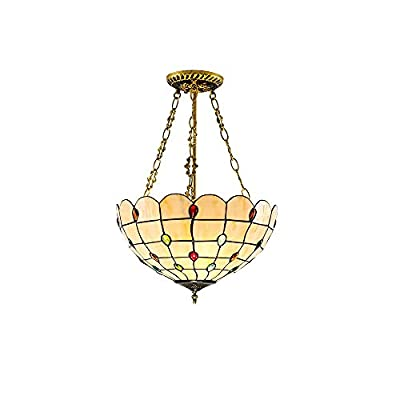 ? Tamaño: W: 12 pulgadas; Utiliza 3 bombillas E26, E27 de 40 W (máx.) (No incluidas); Recomendamos utilizar la bombilla de luz blanca cálida con un ángulo de haz de 360 grados ? Material: la lámpara tiffany utiliza una pantalla de cristal de colore...