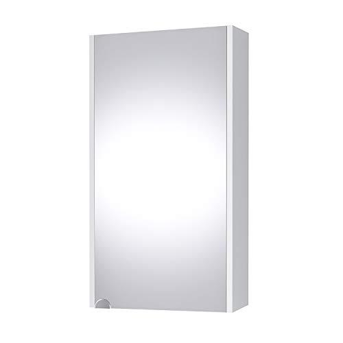 Planetmöbel Spiegelschrank in Weiß, Badmöbel für Badezimmer oder Gäste WC, 4 Fächer, Soft-Close-Funktion