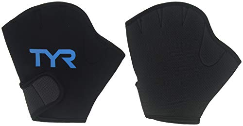 TYR Aquatic Resist Gloves, Medium, Black/Blue