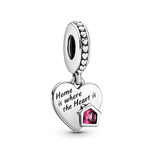 WUXEGHK San Valentín Nuevo 925 Sterling Love My Home Heart Dangle Charm Silver Fit For Pandora Pulsera Collar Plata 925 Joyería