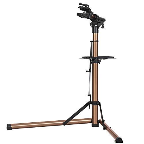 SONGMICS Fahrradmontageständer, Aluminium-Montageständer für Fahrräder, Reparaturständer mit magnetischer Werkzeugschale, Reparaturset, höhenverstellbar, leicht, bronzefarben SBR04GB