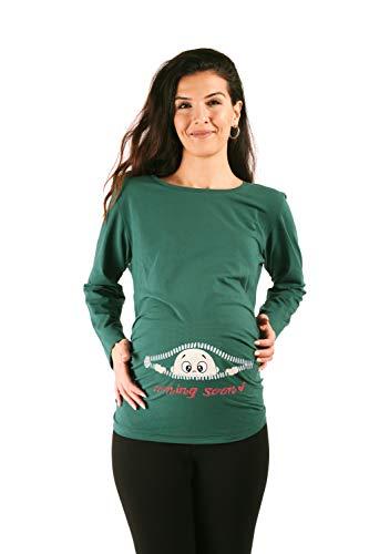 Coming Soon - Ropa premamá Divertida y Adorable, Camiseta con Estampado, Regalo Durante el Embarazo - Manga Larga (Verde Oscuro, X-Large)
