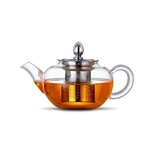 Glass Teapot Infuser with Lid 400 ml, Borosilicate Glass and 304 Stainless Steel, Loose Leaf Teapot Infuser by CASCACAVELLE