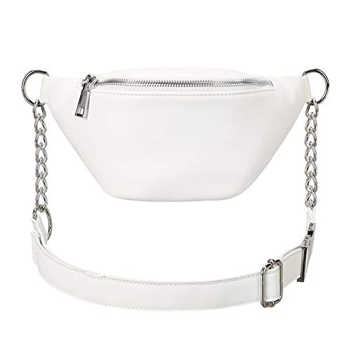 Fashion RFID Leather Waist Fanny Pack Chest Bag Phone Purse with Metalic Chain for Women Black (small white new)