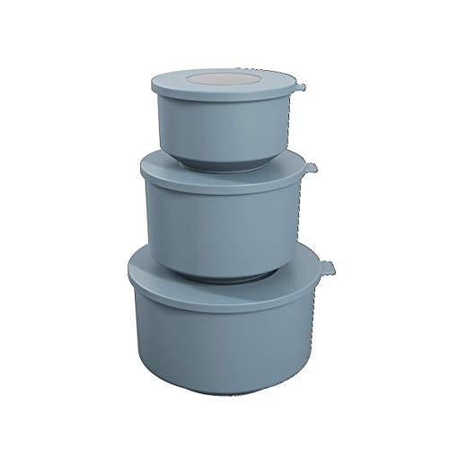 Conjunto de 3 Potes Hoop, 8,3 x 19,6 x 11 cm / 500ml, 1L, 2L, Azul Fog, Coza