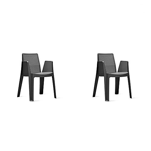 RESOL Play Set 2 Sillas de Jardín Apilables con Reposabrazos y Respaldo Ventilado | Terraza, Patio, Balcón, Comedor Exterior | Ligera y Resistente | Diseño Moderno - Color Gris Oscuro