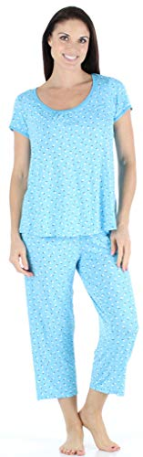 bSoft Women's Sleepwear Bamboo Short Sleeve Top and Capri Pajama Set, Ditsy Floral (BSBJ1830-1200-SML)