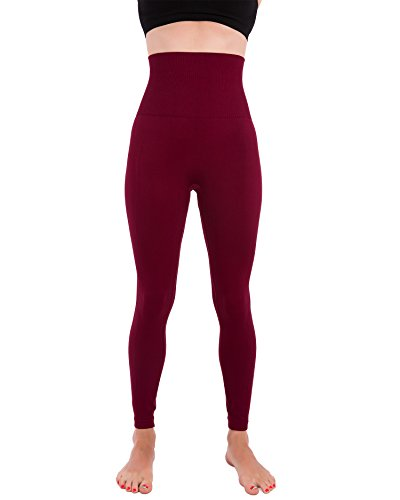 Homma Activewear Thick High Waist Tummy Compression Slimming Body Leggings Pant (Medium, Burgundy)