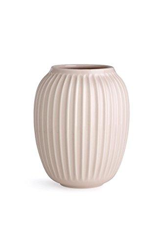 Hak Kähler Hammershoi Vase aus Porzellan mit Rillen, Moderne Vase, rund, bauchige, skandinavisches Design Vase für Blumen, Rosa, 21cm