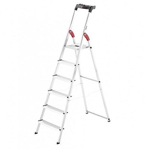 Hailo 0005263 ladder van aluminium, veelzijdig model inclusief multiplicator plaat en knikbescherming, versie met 6 treden