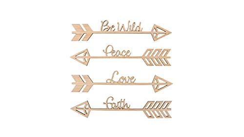 ARTE-DIRECTO Set 4 Flechas con Frases para la decoración de Pared | Decoración Pared | Flechas Decorativas |Flecha Madera con Frases | Flecha del Amor para la decoración de Habitaciones